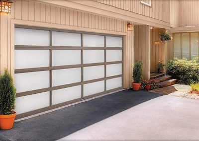 Garage door with glass